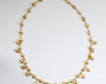 Bronze gold freshwater pearl necklace. Handmade