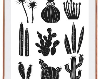 Displays cactus kipik, black and white, graphic, modern, wall decoration, illustration, decoration, print, decor, cacus, home