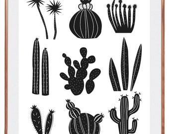 Poster KIPIK, cactus, black and white, home decor