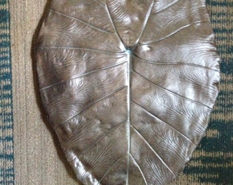 Bronze and silver Colocasia Concrete Leaf