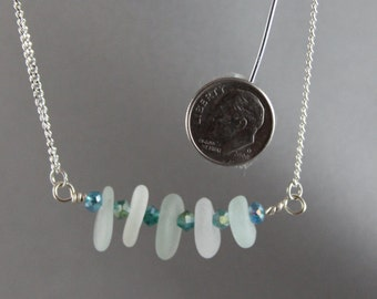 2096N Frosted Lite sea Foam Green Sea Glass Necklace