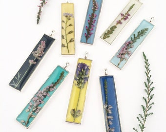 Bar necklace, Real heather necklace, Long pendant, Botanical jewellery, Pressed heather, Winter jewelry, Gift for mom
