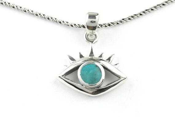 Evil Eye Necklace, Sterling Silver Eye Necklace, Turquoise Necklace, Meditation, Spiritual, Festival, Hippie, Boho, Gemstone