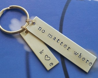 long distance relationship for girlfriend Long distance friendship Gift Long distance from Boyfriend Gift No Matter Where Keychain Present