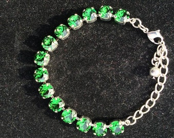 Swarovski Crystal Bracelet, Emerald Crystal Bracelet, Green Bracelet, Bracelet, Chunky Bracelet, Crystal Bracelet