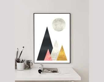 Geometric Nature Printable Poster, Instant download, Textured,Abstract Print, 50x70, A3