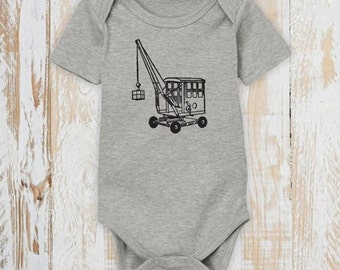 Vintage Crane Baby Bodysuit - Organic Cotton - Victorian - Screen Printed - Baby Clothes - Made in USA