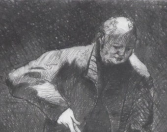 Etching  'Man with broom'