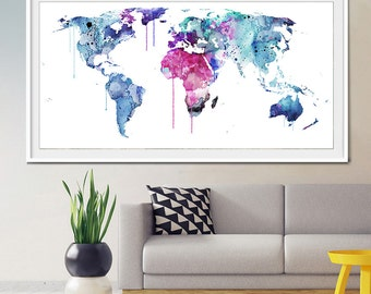 Watercolor world map, Extra Large Watercolor World Map Print, Watercolor Painting, Watercolor World Map Poster, Watercolor Map Print- 320
