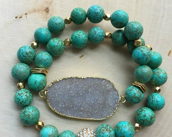 Double Wrap Turquoise and Druzy Bracelet