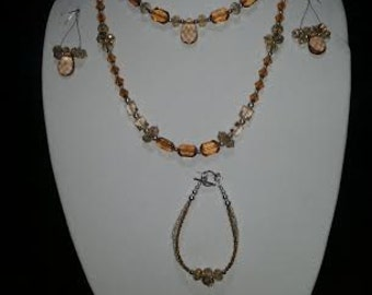 Peach and silver Handmade jewelry set.