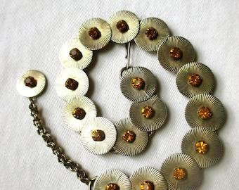 Vintage Choker Starburst Necklace Vintage Sunburst Necklace Midcentury Modern Necklace Mod Choker Mad Men MCM Amber Colored Stones