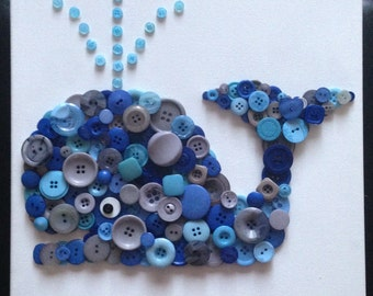 Nautical Nursery, Whale Nursery, Button Art, Button Whale, Nursery Wall Art, Nursery Decor, Button Art, Baby Shower Gift