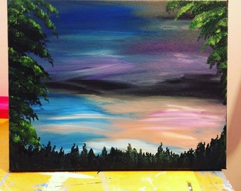 A Walk Through The Forest Alone, Original 11x14, acrylic painting on canvas