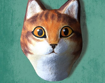 Wall hanging. Paper mache cat head