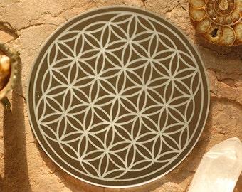 Flower of Life Mirror | Crystal Grid | Sacred Geometry Mirror | Shrine Mirror | Altar Mirror | Meditation Mirror