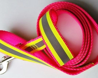 6 Foot Dog Leash - Reflective Pink Leash - Hot Pink Leash - Dog Lead - Dayglo Dog Leash - Pink Dog Harness - Neon Dog Lead