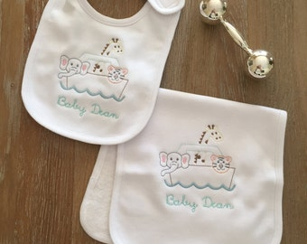 Personalized Bib and Burp Cloth set, Monogrammed Bib and Burp Cloth, Gender Neutral Ark Bib and Burp Cloth