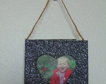 Mini Heart Grey Glitter Hanging Photo Frame