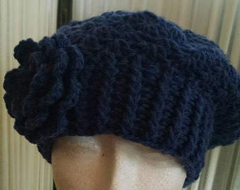 Navy Denim Blue Jean Ribbed and Textured Slouch Tam with Flower Attachment