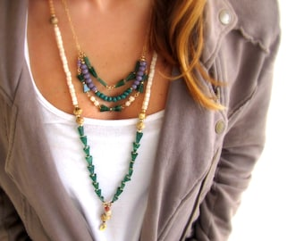 Boho Necklace Bohemian Jewelry, Gemstone Necklace, Statement Necklace, Green Necklace, Layered Bead Necklace, OOAK Necklace