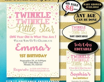 Self-Editing Twinkle Twinkle Little Star Birthday Invitation-Instant Download-Printable Birthday Invitation-First Birthday-Any Age-A107-G