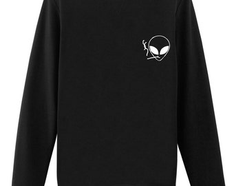 Smoking Alien Sweater Tumblr Sweatshirts sweater Grunge Sweater Clothing Pocket Sweaters - 170