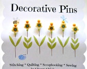 Decorative Sewing Pins - Sewing Pins - Fancy Pins - Flower Pins - Scrapbooking Pins - Fancy Pins - Quilting Pins - Embellishment Pin