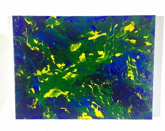 Abstract Acrylic Painting on Canvas - 12 x 9 - Contemporary Original Wall Art - Modern Art - Abstract Painting - Green - Spring - Blue