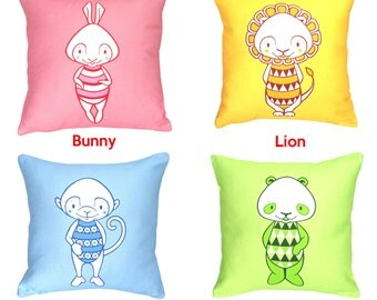 "Cushion Covers 12"" x 12"" Set of 4 Handmade Throw Pillow Cushion Covers 100% Cotton Bunny Rabbit Lion Monkey and Panda Designer Home Decor"