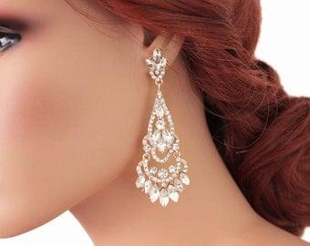 ROSE GOLD Wedding earrings, Long bridal earrings Crystal bridal earrings Wedding jewelry Chandelier earrings Vintage bridal jewelry, 11240RG
