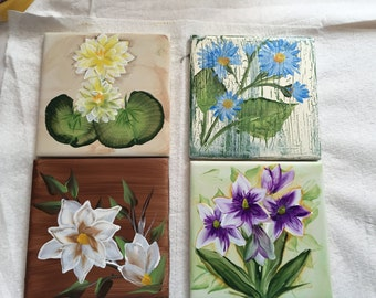 Four Hand Painted Coasters