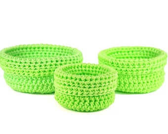 Set of three nesting baskets made to synthetic rope hook Bisofa - green - baskets