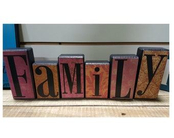 Family Wood Block Set with Pinkish-Red/Antique Paper Background