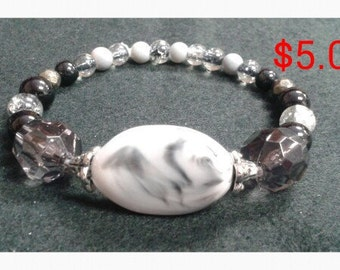 White and Black Marble Beaded Bracelet