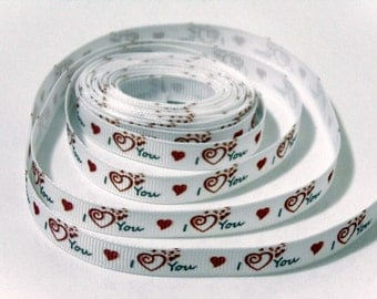 5 yd I Love You Red Hearts Grosgrain Ribbon