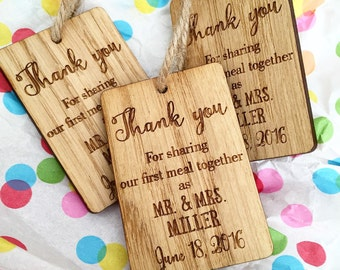Rustic Wedding Table Decor, Rustic Wedding Favor, Wedding Napkin Ties, Vintage Type Tags, Thank You For Sharing Our first Meal, Mr & Mrs