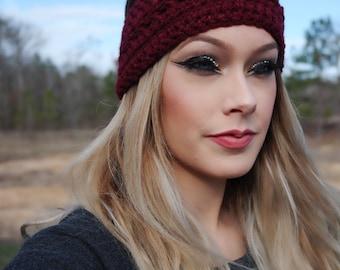 Maroon crochet ear/head warmer
