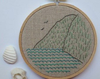 By the Sea Hoop Art. Hand Embroidered Hoop Art. Hand Embroidery. Seascape. Fiber Art. Ocean Art. Hand Stitched. Bird Art. Mountains.