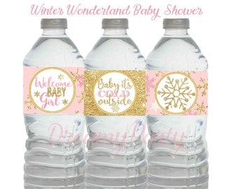 Winter Wonderland Baby Shower, Winter Water Bottle Labels, Pink And Gold  Water Bottle Labels