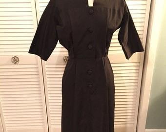 1950s black cotton grosgrain pleated dress