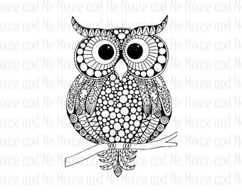 Night Owl Digital Stamp, Printable Adult Colouring Download