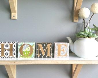 HOME ~ Patterned wood blocks ~ Customised theme, word blocks ~ 8x8cm x 4 individual blocks. Personalised.