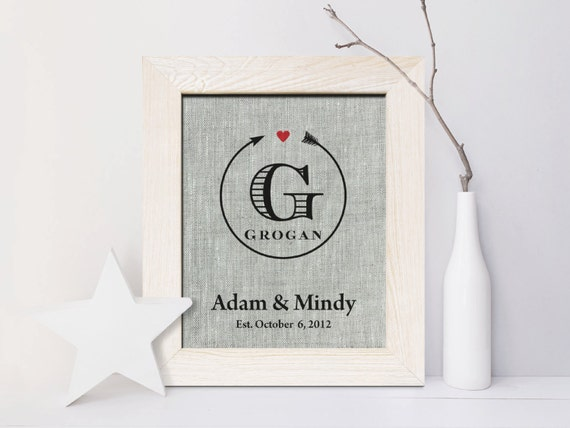 4th Wedding Anniversary Present Husband : 4th Wedding Anniversary Linen gift print, Arrow, 4 Years Together ...