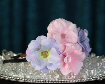FabuStyle Layered Silk Flower Fascinator Headband with Micro Bead Centers