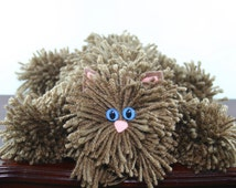 Brown Yarn Cat Collectible, Chocolate Brown Yarn Kitty with Blue Cat Eyes, Handmade Yarn Pom Pom Cat, Stuffed Animal Alternative