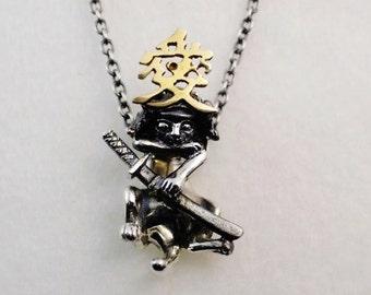 Silver Samurai cats neckless chain - KANYATSUGU for men