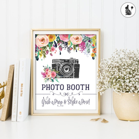 floral wedding sign bohemian photo booth prop photobooth wedding decor watercolor flowers. Black Bedroom Furniture Sets. Home Design Ideas