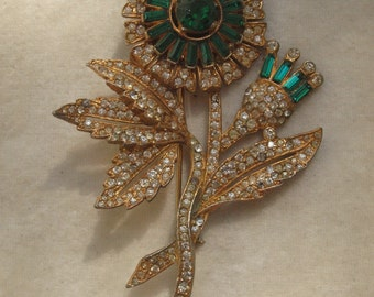 Magnificent Huge 1930's Paste Flower Pin