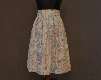 Floral Print Skirt, Cotton Skirt, Flared Skirt, Midi Skirt, Pleated Skirt, Summer Skirt, Handmade Skirt, Romantic Skirt, Made In Latvia